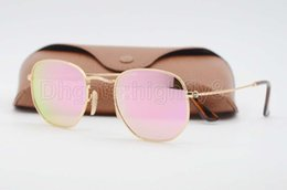 Wholesale Uv Protection Glasses - High Quality Mens Womens Fashion Hexagonal Metal Sunglasses Irregular Personality Sun Glasses Gold Pink Mirror 51mm Glass Lens UV Protection