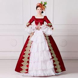 Бальные платья венеция онлайн-красный / темно-золотистый вышивка Венеция карнавал королева бальное платье принцесса средневековое платье ренессанс платье виктория / антуанетта / красавица