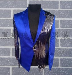 Wholesale Formal Styles Suits Blazers - Blue men suits designs masculino homme terno stage costumes for singers men sequin blazer dance clothes jacket style formal dress