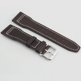 Wholesale Men Watch Strap Bracelet Leather - Corgeut 22mm Coffee Watch Bands Genuine Leather Watch Straps For Men Bracelet Watchbands 120mm 75mm Mens Leather Bands Replacement P525