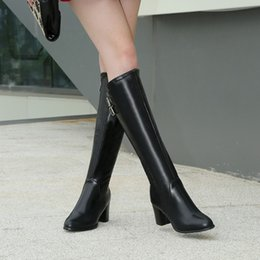 Wholesale Size 33 Boots - 2016 plus size 40 - 43 thick heel boots small yards 33 high-heeled boots thermal side zipper boots free shipping