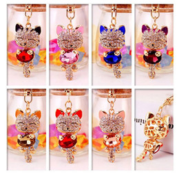 Wholesale Car Keyrings For Men - DHL FREE Lucky Smile Cat Crystal Rhinestone Keyrings Key Chains Holder Purse Bag For Car Christmas Gift Keychains Jewelry llaveros