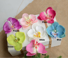 Wholesale Artificial Silk Flower Heads - 30PCS Silk Butterfly Orchids Artificial Flowers Head Orchid Arrangements for Wedding Car Home Decoration Mariage Flores Cymbidium Flowers