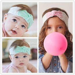 Wholesale Lace Bunny Ears Headband - Newest Baby Girls Solid Bunny Ear Headbands Infant Kids Elastic Cotton Lace Bow Hairband Children Hair Accessories Hair Bands KHA402