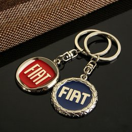 Wholesale Car Logo 3d Metal Keychain - Car Satyling 3D NEW Blue or Red Metal Car Logo keychain Chaveiro Llavero keyring for Fiat Key Chain Ring Key Holder 4s gift