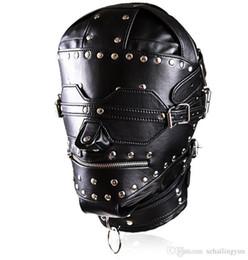 Wholesale Heavy Duty Hood - Adult Sex Bondage Fetish Heavy Duty Studded Leather Ironman Hood Head Restraint Mask SM Dungeon Gear Sex Products