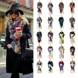 Wholesale Wholesale Neckerchief - Women Plaid Scarves Grid Tassel Wrap big children Shawl tartan Scarf Winter Fashion Neckerchief Lattice Blankets 33 colors C2687