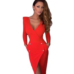Wholesale Long Tight Casual Dresses - new hot speed sell tong double-breasted deep v-neck backless irregular long sleeve skirt split tight dress