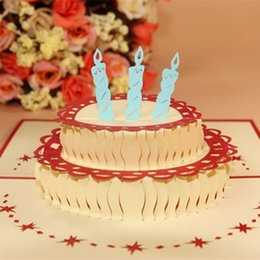 Wholesale Papercraft 3d - NEW 10X HAPPY BIRTHDAY 3D POP UP HANDCRAFTED GREETING PAPER PAPERCRAFT CARD CAKE WITH CANDLE FREE SHIPPING