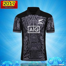 Wholesale Large Size Jerseys - 2017 new All Black new zealand home rugby Jerseys 100 thanniversary year top Thailand quality rugby shirts Extra large size S-XXL