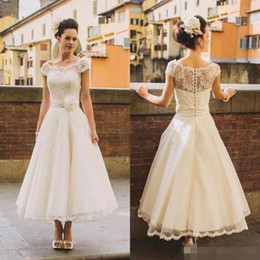 Wholesale Ivory Wedding Dresse Short - 2017 Wedding Dresse New Tea Length Lace Wedding Dresses A Line Beach Appliques Sheer Cap Sleeves Bridal Gown Short Party Dresses Bridal Gown