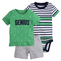 Wholesale wholesale toddler boy clothes - Baby Boys Clothing Sets Genius Letter T Shirt Striped Rompers Tops Short Pants Toddler Boutique Children Clothes Short Sleeve Outfits