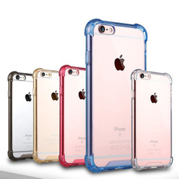 Wholesale Iphone Back Side - Transparent Shockproof Acrylic Hybrid Armor Bumper Side Soft TPU Frame Back PC Hard Case Clear cover for s8 iphone 7 6 6s Plus