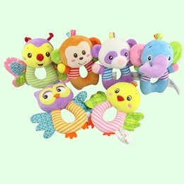 Wholesale Infant Boys Toy New - Newborn Cute Cotton Baby Boy Girl Rattles Infant Animal Hand Bell Kids Plush Toy Development Gifts Rings Toddler Toys 0601558