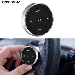 Wholesale Music Control Car Steering - Wholesale-Wireless Bluetooth Media Remote Steering Wheel Remote Mobile MP3 Music Play for Car Motorcycle Bike Control Car-styling Kit