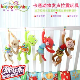 Wholesale Wholesale Vibrating Rings - Wholesale- Baby Newborns Toys Cartoon Animals Vibrating Sounding toy Plush Multifunction Rattles Wind Chimes Bed Hanging Rings Bells Doll