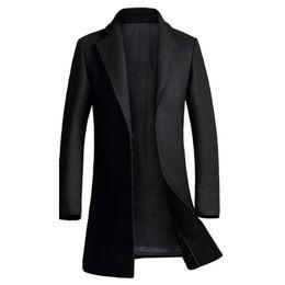 Wholesale mens wool jacket pea coat - Wholesale- Cashmere Coat Men 2016 Winter New Long Wool Blends Coat Slim Fit Mens Pea Coat Jacket Casual Manteau Homme Fashion Overcoat