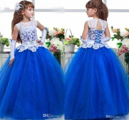 Wholesale Infants First Communion Dresses - Royal Blue A-line Lace Bodice Top Sheer Tulle Skirt Flower Girl Dresses Infant Tutu Dress Toddler Ball Gown Girls First Communion Dresses