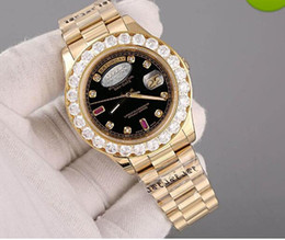 Wholesale Mechanical Face - Free shipping watches men luxury brand Day-Date Red face diamond watch men automatic AAA sapphire 18K original clasp Mechanical WristWatche