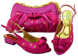 Wholesale Wedding Peep Toe Wedges - Wonderful fuchsia women low heel african shoes match handbag set with rhinestones for dress MM1050,heel 3.5CM