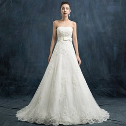 Wholesale Cheap Strapless Backless Bra - Vintage Charming Cheap Bra Bows Bride Slim A line Wedding Dress Elegant Korean Version Lace Decals Bead Chapel Vestios De Novi Wedding Gowns