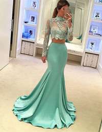 Wholesale Long Pattern Skirts - 2017 Vestido Sexy Two Pieces Mint Color Sheer Lace Long Sleeves Mermaid Skirt Special Occasion Dresses Evening Party Prom Gowns Custom Made