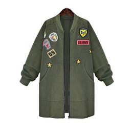 Wholesale Black Boyfriend Jacket - Wholesale- 2016 Boyfriend Styl Autumn Jacket Coat Women Fashion Bomber Jacket Big size Hip Hop Women Long Coat Army Green Coat Black XL-5XL