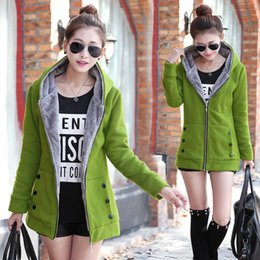 Wholesale Cashmere Hoodie Women - Free Shipping 4XL Thick Auntumn Winter Women Hoodies 2017 Solid Colors Long Hoodies Cardigan Overcoats FS0988