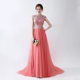Wholesale Red Tulle Fabric - Evening Gowns Scoop Neck Sweep Train Beaded Patterns Tulle Fabric Zipper Back Prom Dresses Hot Sale