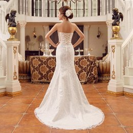 Wholesale White Classic Style Wedding Dresses - 2016 New Korean Classic Style Dress Summer Design White Off Shoulder Sexy Vestido de Noiva Lace Train Bridal Wedding Dress