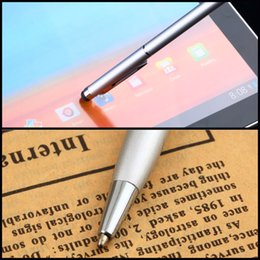 Wholesale Pda Pen Phone Stylus - Wholesale- 1pcs 2 in 1 Capacitive Touch Screen Stylus with Ball Point Pen for PDA Phone