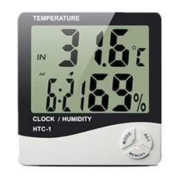 Wholesale Electronic Calendar Alarm - Digital Electronic Temperature Clock HTC-1 LCD Indoor Humidity Meter Daily Alarm And Calendar Display with Retail Package New DHL OTH357