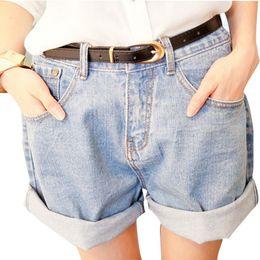 Wholesale Denim Roll High - 2015 Vintage Women Girls Jeans Denim Shorts Roll-up Hem Loose Plus Size Women Shorts High Waist Denim Shorts Wash Jeans M L XL