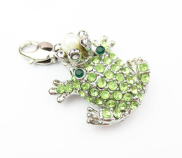 Wholesale Frog Pendant Gold - Wholesale- Europe and American fine Jewelry cute Peridot Lovely frog Czech stone key ring charm and bag pendant Jewelry