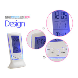 Wholesale Digital Snooze Alarm Clock Bedside - Digital Thermometer Clock LCD Alarm Calendar LED Backlight Desktop Clocks Snooze Desktop Table Children Bedside Despertador Desk Clock