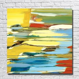 Wholesale Oil Painting Framed Abstract Yellow - Hand painted Abstract Yellow Painting for Home Decor Wall Pictures Modern Canvas Art Hot Sale Oil Painting Big Size No Framed