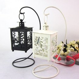 Wholesale Metal Wedding Candle Lanterns - Moroccan Candle Holders Leaves Hanging Candle Holder Square Wedding Iron Candle Holders Lantern Home Decorative White Black Candlestick