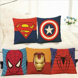Wholesale Batman Pillow Cases - The Avengers Pillow Case Cartoon Pillow Case Superman Batman Wade Printed Cushion Cover Cotton Linen Pillow Cover Home Textiles Xmas Gift