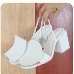 eva blocks Coupons - New Brand Jacquemus White Black Designers Slingback Sandals Chunky heels Leather Buckle Fashion Summer T Show Party Pumps Block Heels