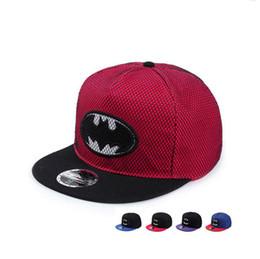 Argentina Batman nuevo bordado plano a lo largo del sombrero de hombres y mujeres de personalidad compuesto red colgante gorra de béisbol hip hop DMB021 cheap red batman cap Suministro
