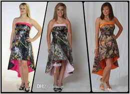 Wholesale High Low Formal Dress Strapless - Strapless Camo High Low Bridesmaids Dresses Camouflage Cheap Lace Up Back Formal Bridesmaid Wedding Party Gowns Cheap Sale