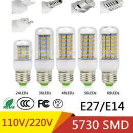 Wholesale E14 48 Smd - Best Sellers SMD 5730 Lampada LED Lamp E27 220V 110V Corn Light E14 LED Bulbs Chandelier 36 48 56 69 72 LEDs