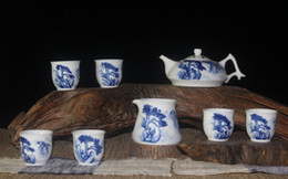 Wholesale Fine Chinese Tea - Blue and White Porcelain Artistc Tea Set with Chinese Fine Brush Handpainted Greeting Pine Painting CN-063