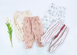 Wholesale Girls Floral Harem Pants - 2017 Girls Baby Childrens Harem Pants Summer Cotton Linen Trousers Clothing Girl Toddler Kids Floral Home Pants Boutique Clothes 0-3T
