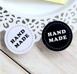 Wholesale Post Craft - Wholesale- Round Black and white HAND MADE Craft paper Sealing sticker Vintage DIY Gifts posted Baking Decoration label (300pcs)