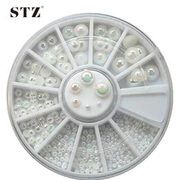 Wholesale High Quality Rhinestones Nail Art - Wholesale- 6Size Pearls Wheels High Quality Shinning Milticolor 6mm Glitter Flatback Beads 3d Nail Art Rhinestones Nail Supplies NC075