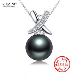 Wholesale natural black pearls jewelry - YHAMNI Real Original 925 Sterling Silver Necklace Natural Freshwater Black Pearl Pendant Necklace Wedding Jewelry for Women NG07