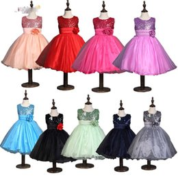 Wholesale Girls Baby Dresses Sequin - frozen Dress skirt girls party sleeveless tutu kids gown baby prom dress with sequins and Big flower baby girl's lace dress