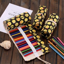 Wholesale Wholesale Fabric Gift Boxes - Canvas Pencil Bag Cartoon Emoji 36 Holes Large Capacity Draw Painting Roll Bags Manual Cute Pen Box 7 2sh F R