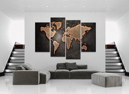 Wholesale Bedroom Framed Wall Paintings - Wall Decor Canvas Painting 4 Piece Canvas Art World Map Gray Digital Picture Home Pieces Modular Picture for Bedroom Dropship